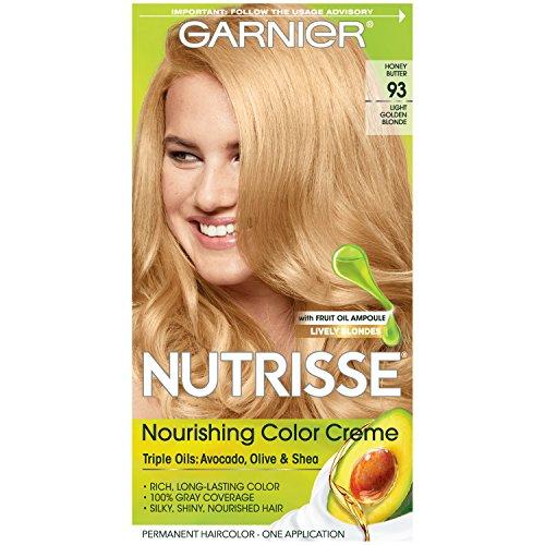 Golden Blonde Kit - Garnier Nutrisse Nourishing Hair Color Creme, 93 Light Golden Blonde (Honey Butter)  (Packaging May Vary)