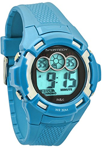 (Unisex Watches by Sportech - Sky Blue Digital Water Resistant Sport Watch - Make Every Second Count - SP10610)