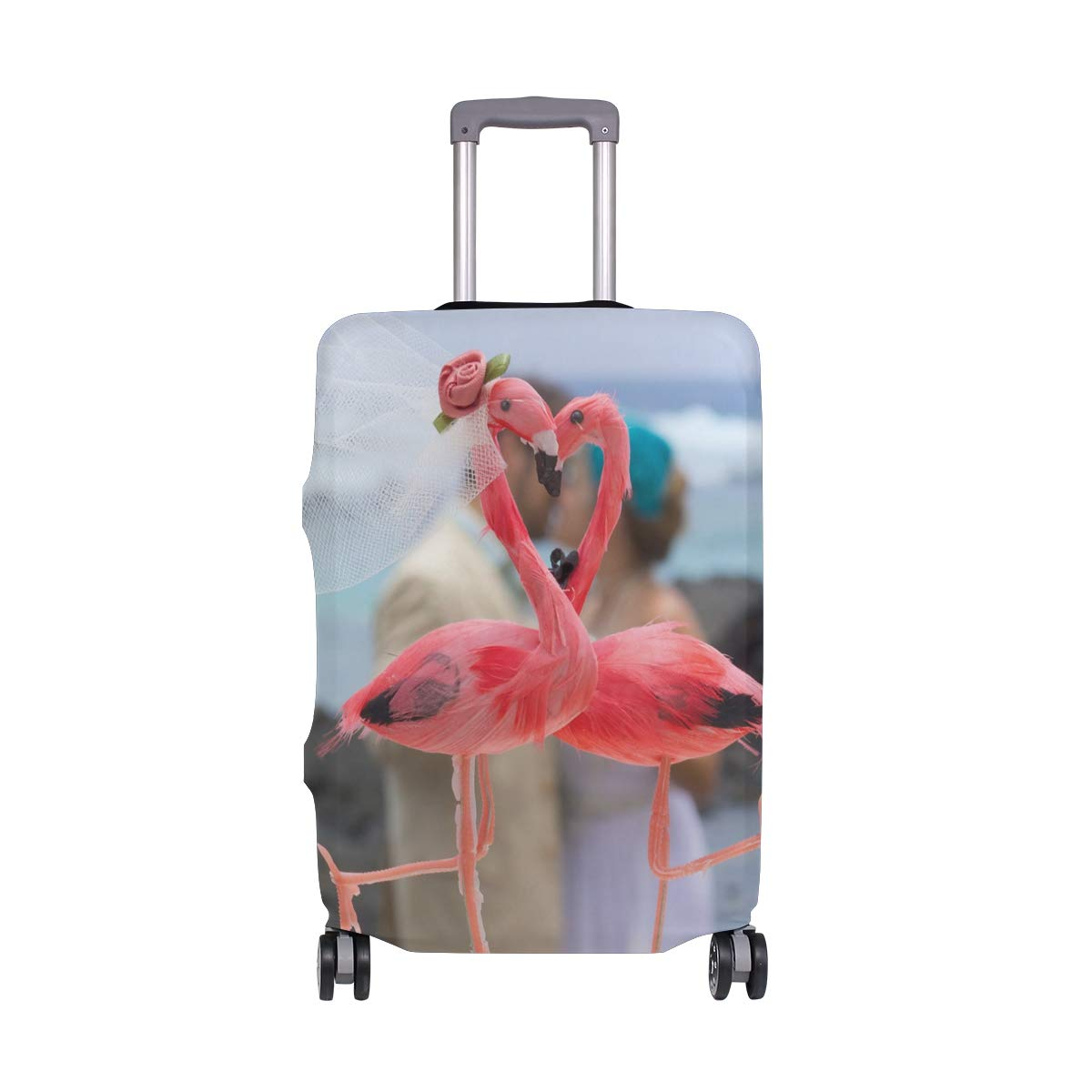Travel Suitcase ProtectorFlamingo Wedding Luggage Cover 22-24 Inch