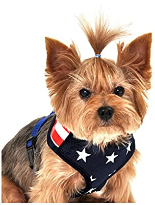 Anit Accessories Stars and Stripes American Flag Mesh Harness, Medium, Blue