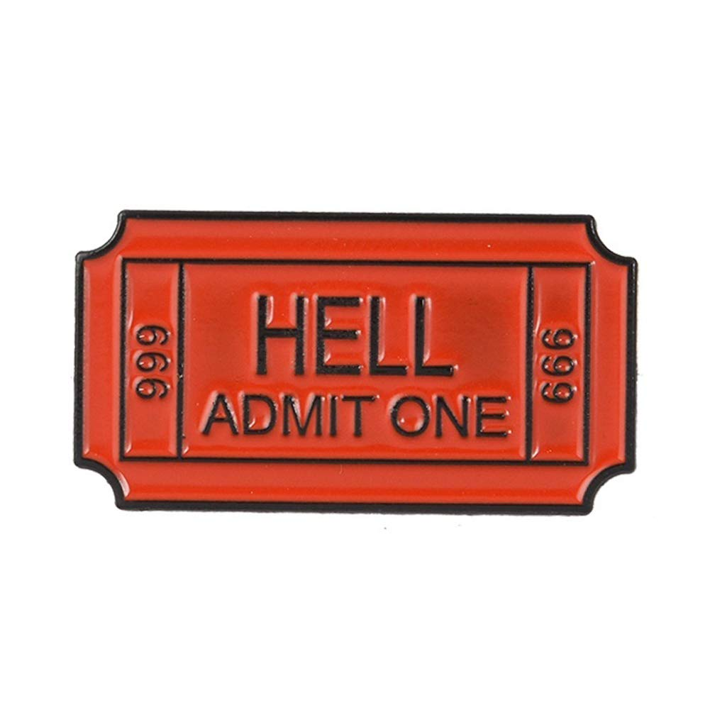 bjduck99 Women Hell Admit One English Letter Badge Metal Brooch Pin Clothes Scarf Jewelry Decor