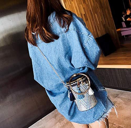 bandoulière en à à à à bandoulière Sac rétro en à chaîne Sac Blue Portable Sac Franges Main bandoulière Paille EW1dcq6