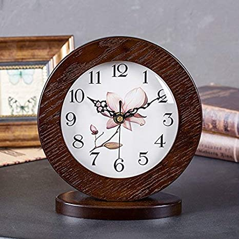 Amazon.com : Fireplace Clocks Family Style Table Clock European Mute Wooden Desk Clock Decoration ó N for Living Room Suitable for Living Room Office ...