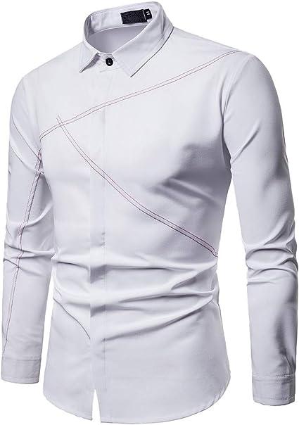 Sencillo Vida Camisas Blancas Hombre Manga Larga Camisas de Hombre de Vestir Delgada Slim Fit Camisa Hombres Casual Formales Clásico Cuello de Solapa con Botones para Hombre: Amazon.es: Ropa y accesorios
