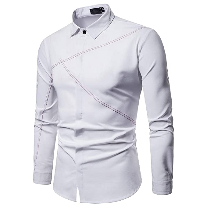 7ceb42518e9 Camisas De Hombre Blancas, Modaworld Camisa De Hombre Moda Personalidad Manga  Larga Ajustado Clásico Básica Botón Formal Casual Camiseta Tops Blusa para  ...