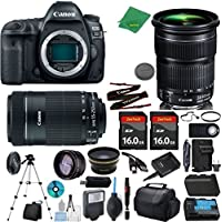 Canon EOS 5D Mark IV Camera + 24-105mm STM + 55-250mm STM + 2pcs 16GB Memory + Case + Reader + Tripod + ZeeTech Starter Set + Wide Angle + Telephoto + Flash + Battery + Charger