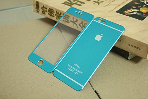 Cakin New Colorful Mirror Effect Electroplanting Premium Real Tempered Glass Film Screen Protector for Apple iPhone 6 - 4.7 inches Front and Back Panel 2 Packs (P6 4.7 Blue) (Blue Front Glass For Iphone 4 compare prices)
