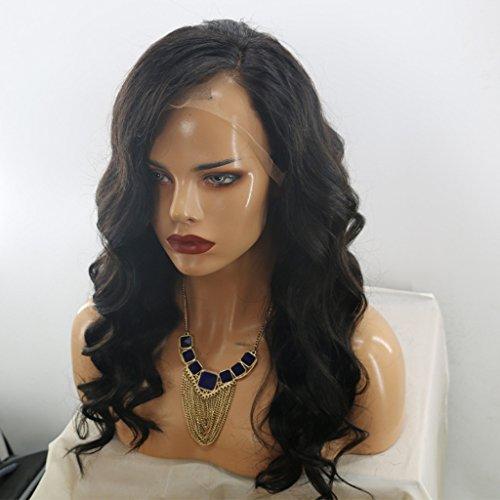 MeiRun 7A Human Hair Silk Top Wigs Body Wave Virgin Lace Front Wigs Silk Base Full Lace Wigs 130% Density Jet Black(16 (Jet Lace Wig)