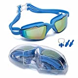 Street tribe Swimming Goggles, Professional Swim Goggles,Anti-Leakage, Anti-Fog,Anti-UV,with Nose Clip, Ear Plugs, Protection Case(Sky Blue)