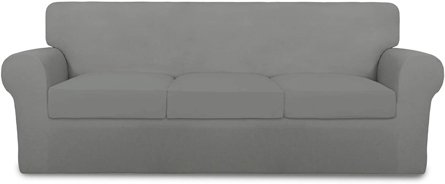 PureFit 4 Pieces Super Stretch Chair Couch Cover for 3 Cushion Slipcover – Spandex Non Slip Soft Sofa Cover for Kids, Pets, Washable Furniture Protector (Sofa, Light Gray)