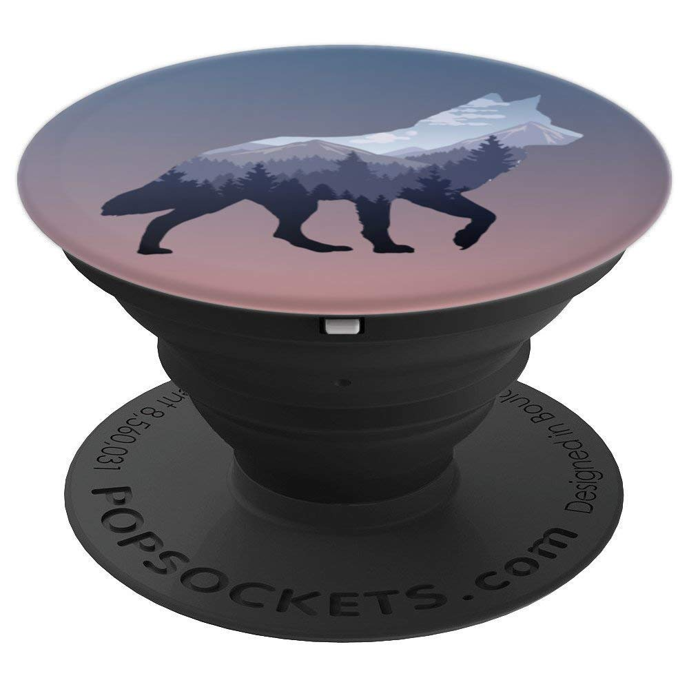 Lone Wolf Survives The Mountain Silhouette Art - PopSockets Grip and Stand for Phones and Tablets