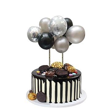 HAPPY 18TH BIRTHDAY AGE 18  BLACK AND DIAMOND BALLOON EDIBLE CUPCAKE TOPPER
