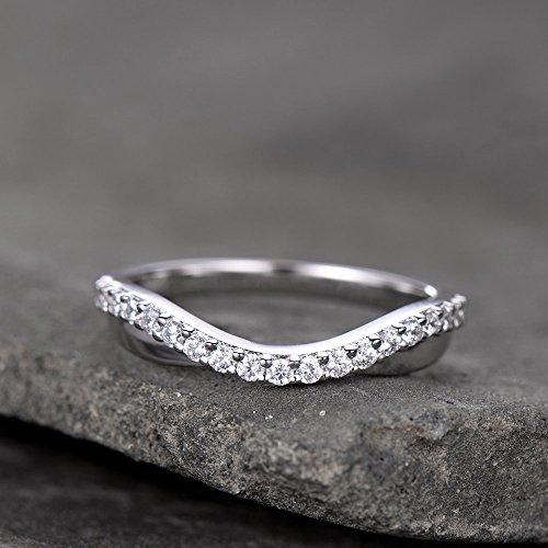 - Curve Wedding Band Plain Gold Band Unique Wedding Ring Chevron Ring CZ Man Made Diamond Eternity Band 925 Sterling Silver
