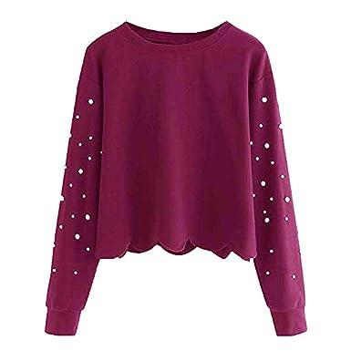 d2fc02033404 Longra Damen Sweatshirt Pullover Basic Crew-Neck Sweater Ladies Beading Schöne  Pullover Rundhalspullover Oversize Vintage Damen Longsleeve Langarmshirt ...