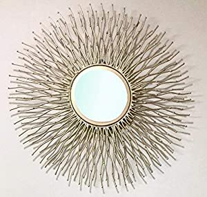 Furnish Craft Sun Rising Designed Wall Mirror for Home Decor, Gift Purpose (Pack of 3, Golden)