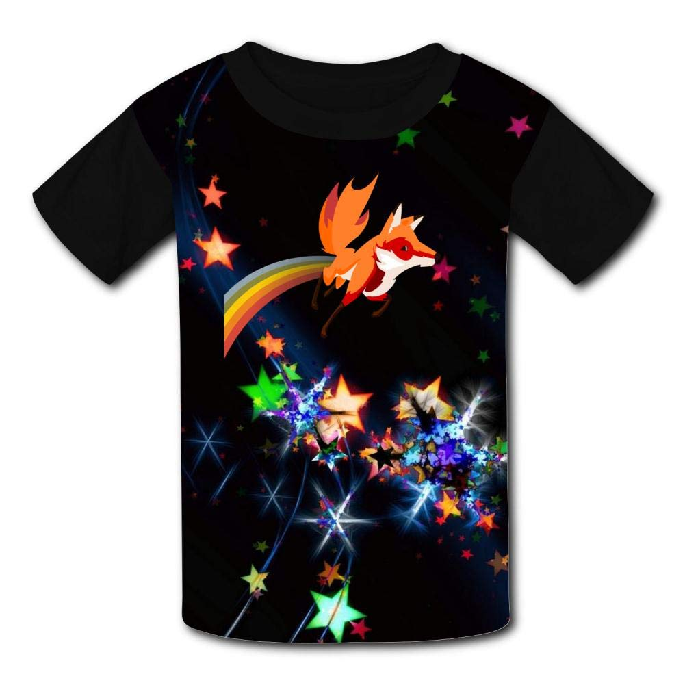 Childrens Short-Sleeved T-Shirts Fun Rainbow Fox Tail for Boys and Girls