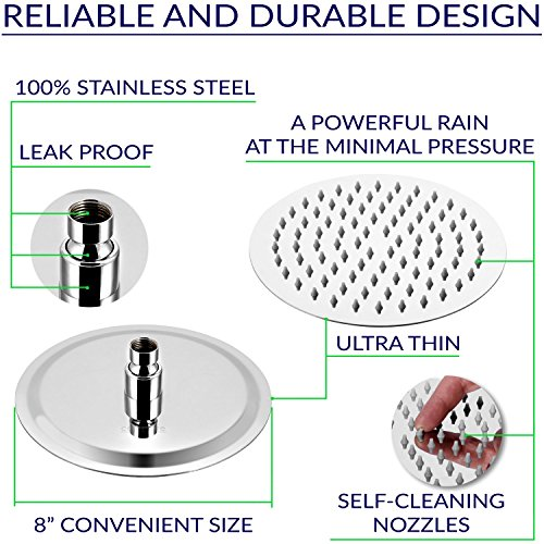 Rain Shower Head Stainless Steel – [NEW 2019] High Pressure 8 In Rainfall Bathroom Powerful Spray Shower Heads – Best High Flow Fixed Luxury Chrome SPA Showerhead with Adjustable Metal Swivel Ball by Colomore (Image #1)