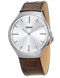 Rado True Thinline Silver Dial Brown Leather Mens Watch R27955105 by Rado