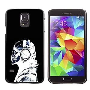 Qstar Arte & diseño plástico duro Fundas Cover Cubre Hard Case Cover para SAMSUNG Galaxy S5 V / i9600 / SM-G900F / SM-G900M / SM-G900A / SM-G900T / SM-G900W8 ( Headphones Skeleton Art Bones Profile Portrait)