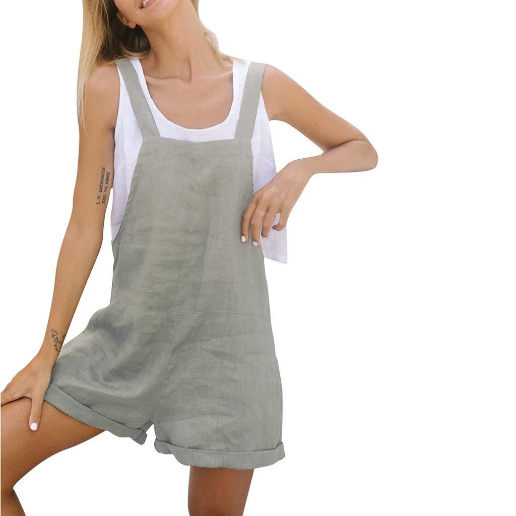 Plus Size Rompers/Jumpsuits for Women,Claystyle Fashion Womens Floral Cold Shoulder Jumpsuit Bodysuit V-Neck Romper(Gray,3XL)