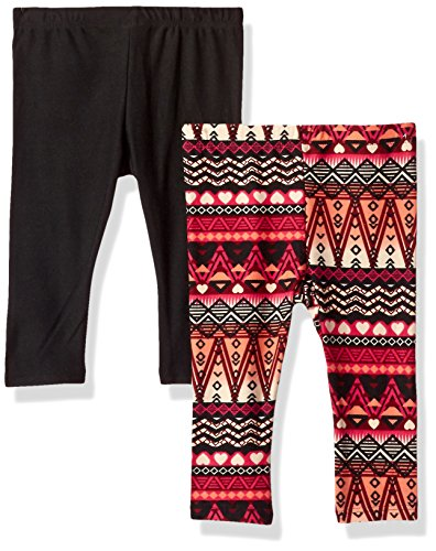 One Step Up Baby Girls 2 Pack Legging, Cabernet red/Black, 24M ()