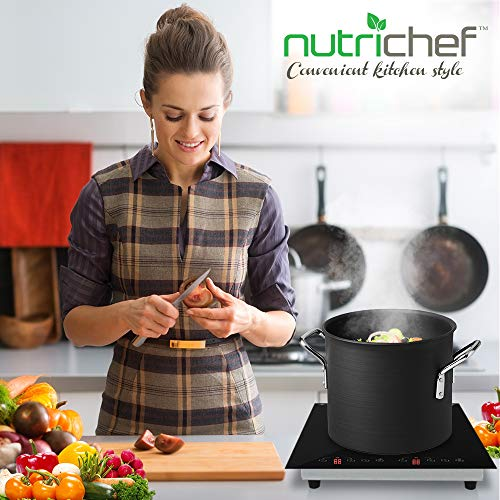 Dual 120V Electric Induction Cooker - 1800w Portable Digital Ceramic Countertop Double Burner Cooktop w/ Countdown Timer - Works w/ Stainless Steel Pan / Magnetic Cookware - NutriChef PKSTIND52 by NutriChef (Image #6)