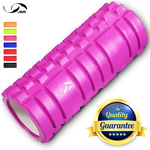 JBM Foam Roller Muscle Roller Massage Deep Tissue Roller Back Leg Body Roller help Muscle Stretch Physical Therapy Self Myofascial for Yoga Exercise Fitness Crossfit Lifting Workout (Purple) (Foam Backpack)