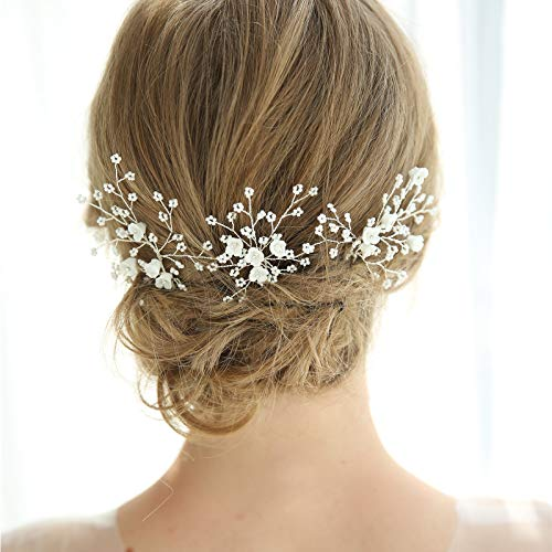 SWEETV Flower Beaded Wedding Hair Pins Rhinestone Bridal Hair Accessories decorative for Brides and Bridesmaid(Pack of 3)