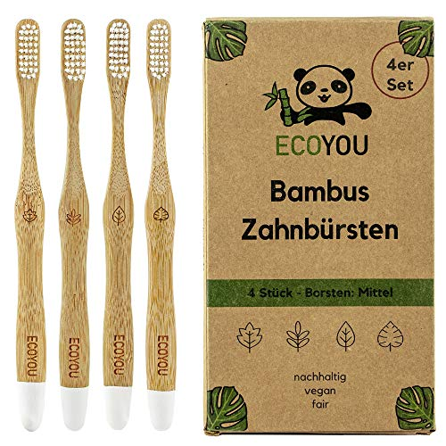 EcoYou® Bambus Zahnbürsten 4er Set mittel – Nachhaltige Holzzahnbürste vegan