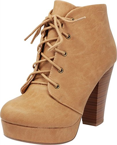 - Cambridge Select Women's Lace-up Platform Chunky Stacked Heel Ankle Bootie,8 M US,Camel Pu