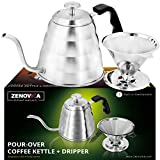 Stainless Steel Pour Over Kettle – Large 1.2L (40 fl oz) Gooseneck Kettle With Thermometer – Stovetop Drip Kettle for Coffee and Tea Coffee Dripper Filter Set