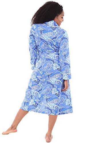 Alexander Del Rossa Womens Cotton Robe, Lightweight Woven Bathrobe, Small Paisley Blues (A0515V61SM)