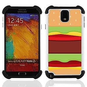 For Samsung Galaxy Note3 N9000 N9008V N9009 - hamburger fast food pop art junk brown Dual Layer caso de Shell HUELGA Impacto pata de cabra con im????genes gr????ficas Steam - Funny Shop -