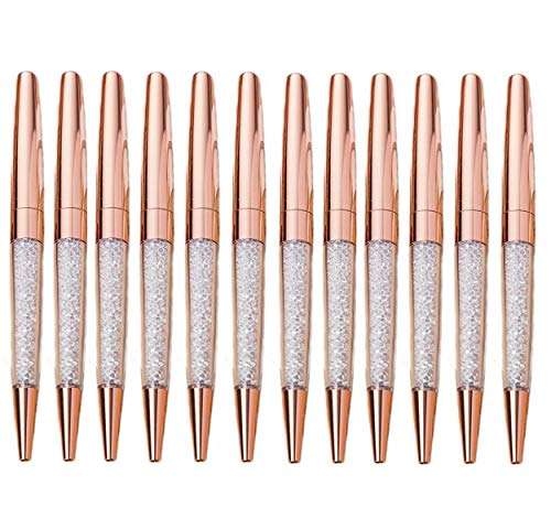 MengRan Rose Gold Pen Diamond Crystal Ballpoint Pens (Pack of 12)(rose gold) -