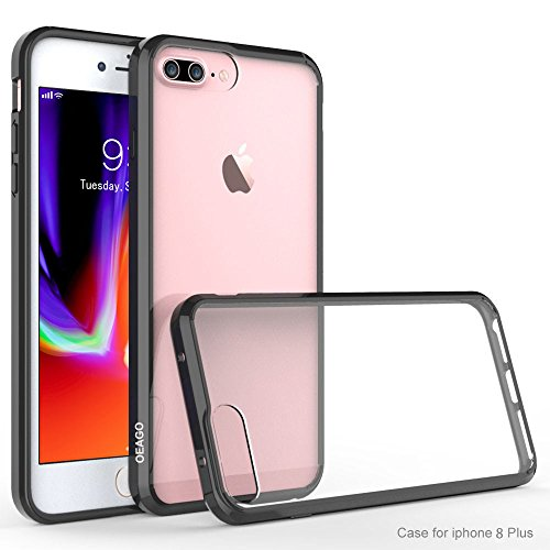 iPhone 8 Plus Case, iPhone 7 Plus Bumper, OEAGO [Ultra Scratch Resistant] [Hybrid Bumper Series] Shockproof Impact Resistance Case and Clear Hard Back Panel for iPhone 8 Plus/iPhone 7 Plus - Black