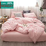 hotel bedding pink - Kiss Tell 3pc Washed Cotton Duvet Cover Set King Hotel Simple Soft Solid Color Bedding Set with 1 Duvet Cover 2 Pillow Shams by (King, Girls Pink)