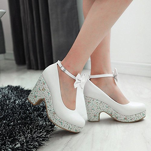 Latasa Mujeres Cute Bow Correa De Tobillo Plataforma Impreso High Heel Dress Bombas Zapatos Blanco