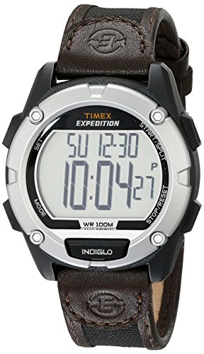 (Timex Men's T49948 Expedition Digital CAT Black/Brown Mixed Material Strap Watch)