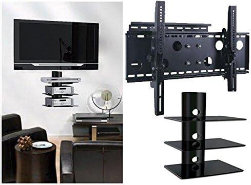 2 x casa – nuevo soporte de pared para televisor (brazo único) y (3) – Estante Triple paquete – seguro – soporte LED LCD Plasma 3d Smart Wifi soporte de mesa Monitor