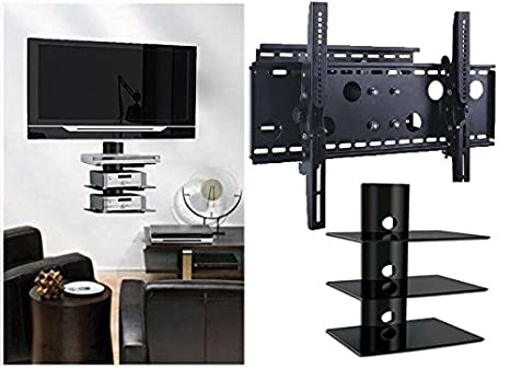 2xhome – NEW TV Wall Mount Bracket (Single Arm) & Three (3) Triple Shelf Package – Secure Low Profile Cantilever LED LCD Plasma Smart 3D WiFi Flat ...