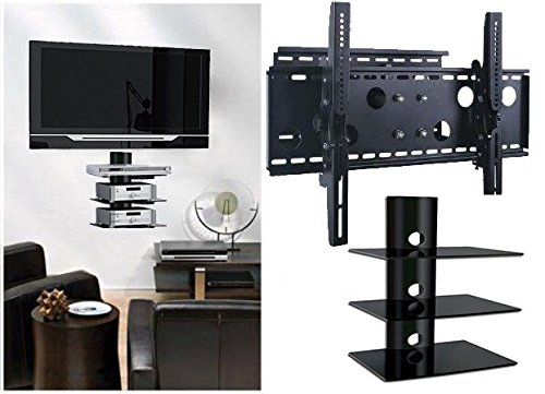 2xhome – NEW TV Wall Mount Bracket (Single Arm) & Three (3) Triple Shelf Package – Secure Low Profile Cantilever LED LCD Plasma Smart 3D WiFi Flat Panel Screen Monitor Moniter Display Large Displays - Long Swing Out Single Arm Extending Extendible Adjusting Adjustable - 3 Tier Under TV Tempered Glass Floating Hanging Shelves Shelving Unit Rack Tower Set Bundle - Full Motion 15 degree degrees Tilt