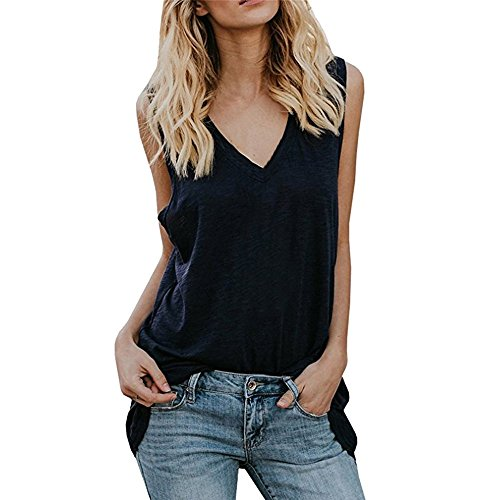 (Women's Summer Tank Tops,Cinsanong Sales! Ladies V Neck Sleeveless Tunic Shirts Casual Summer Loose Fit Vest Black)