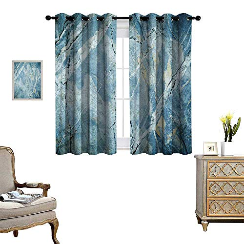 (Warm Family Marble Thermal Insulating Blackout Curtain Exquisite Granite Stone Architecture Floor Artistic Nature Faded Rock Picture Patterned Drape for Glass Door W55 x L45 Pale Blue Grey)