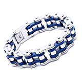 FATEMOONS Mens Bicycle Bracelet Biker Link Chain Stainless Steel Wristband Motorcycle Bangle 8.5 inch (Blue-Silver)