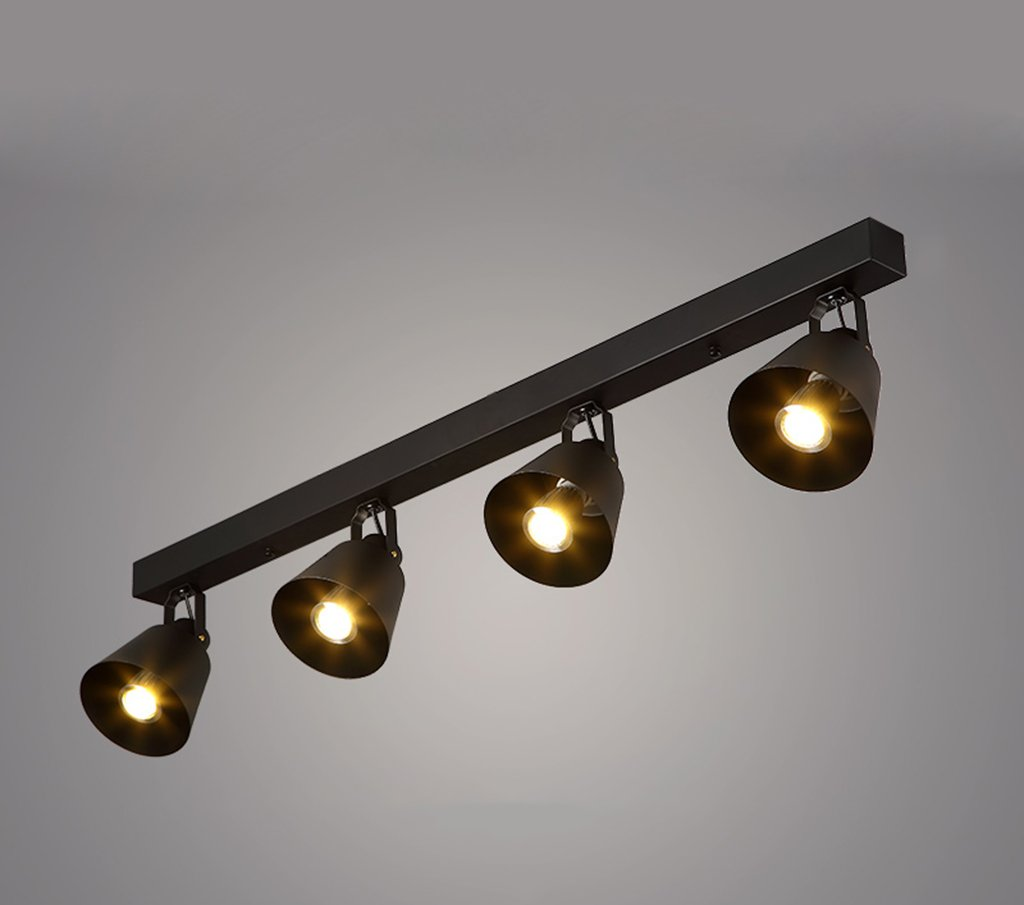 MGSD Spotlight, Retro Creative Personality Of The Industrial Clothing Store Restaurant Bar Guide Rail LED Lights Spotlights Maximum 40W Energy A + A+ ( Color : Black )
