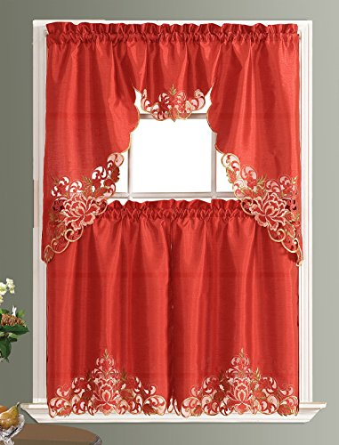 PASSIONATE BLOOM Kitchen Curtain Set/ Swag valance & tier set. Nice embroidery on faux silk fabric with cutworks. (RUST)
