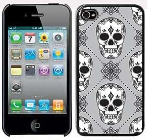 Apple iPhone 4 4S 4G Black 4B82 Hard Back Case Cover Skull Pattern Design