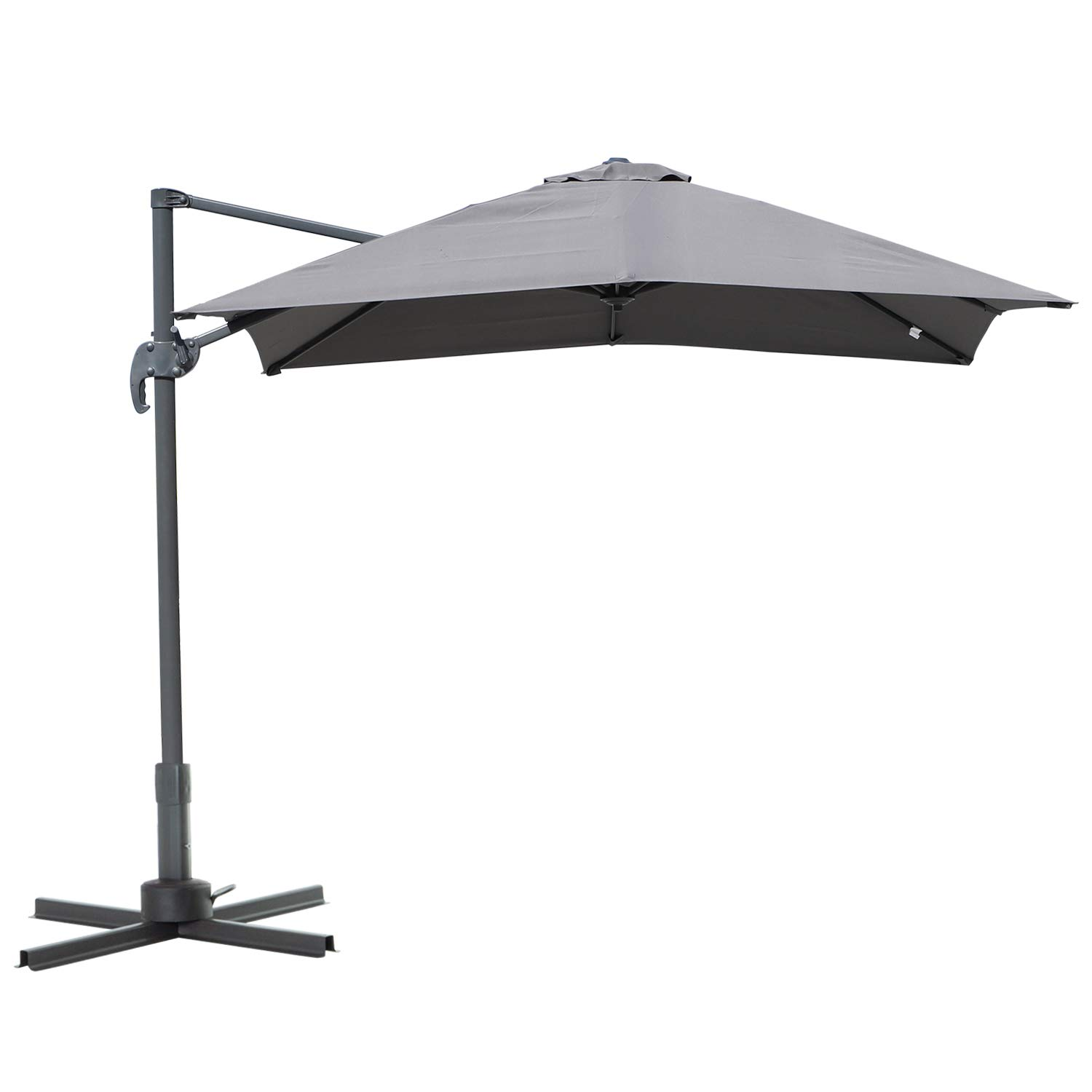 Outsunny 8' x 8' Square Offset 360 Cantilever Market Patio Umbrella with Cross Base -Grey