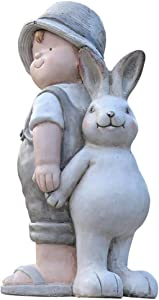 Resin Garden Sculpture,Modern Patio Statue Rabbit and Boy Back to Back Figurines Idea for Outdoor Entryway Patio Deck Decor White 22x15x40cm(8.7x5.9x15.7inch)