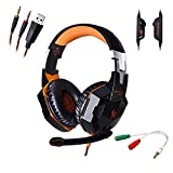 AFUNTA G2000 Stereo Gaming Headset for PS4 PC with Mic,KOTION EACH Bass Over-ear Headphones with Volume Control and LED Lights for Laptop Computer Smartphones-Orange